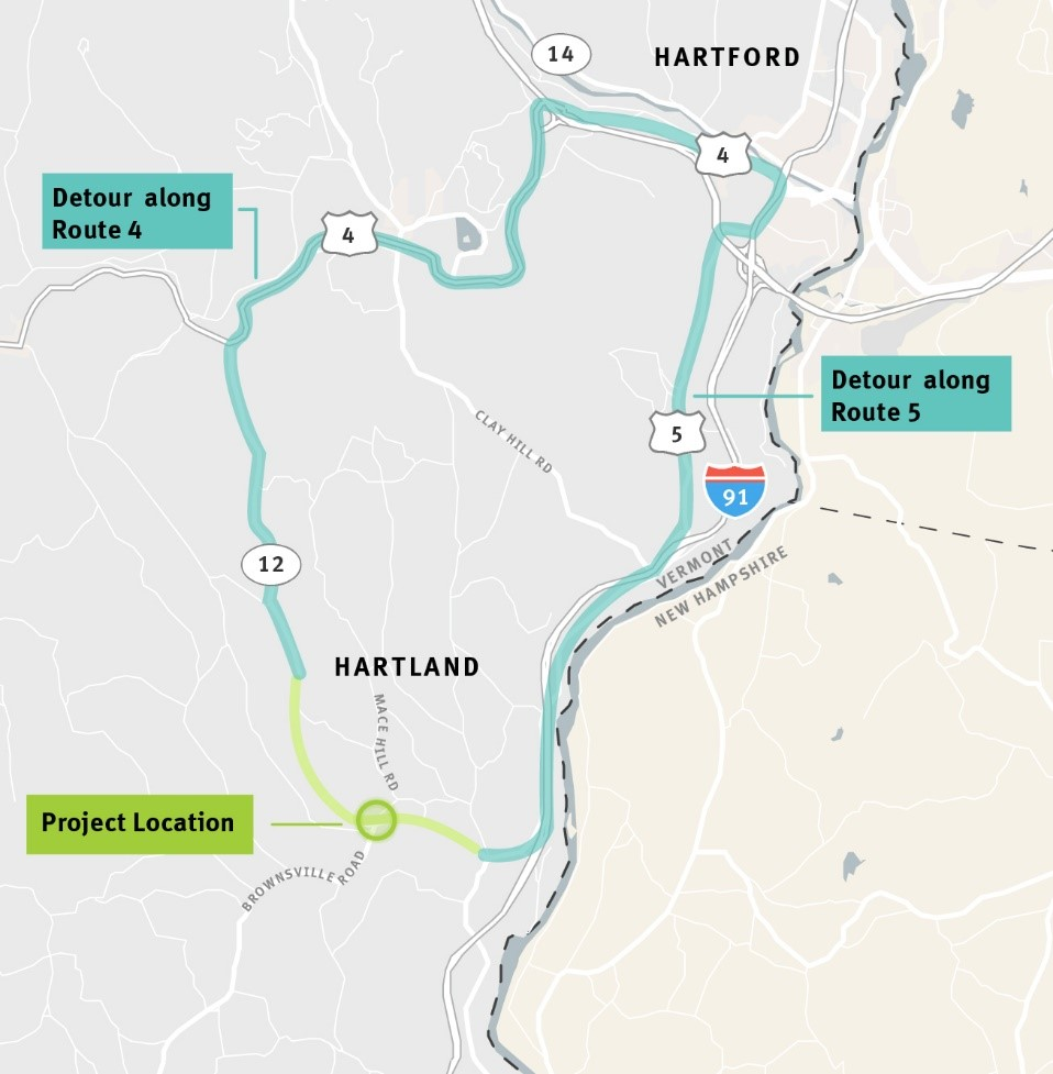 Traffic Alert – Closure of VT Route 12 Bridge #3, over Lulls Brook, in Hartland